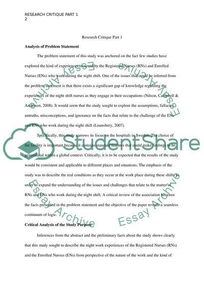 Nursing research critique papers