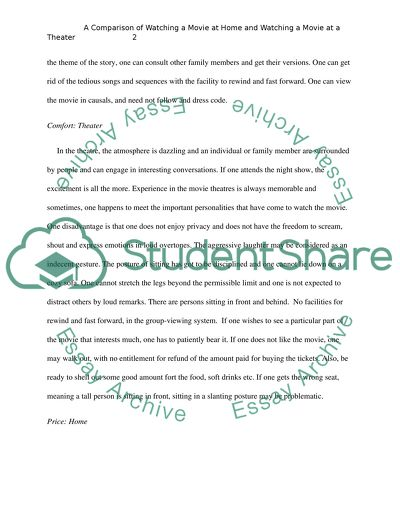 English Literature Essay Structure A Comparison Of Watching A Movie At Home And Watching A Movie At A Theater Narrative Essay Sample Papers also Compare And Contrast Essay About High School And College A Comparison Of Watching A Movie At Home And Watching A Movie At A Essay Fifth Business Essay