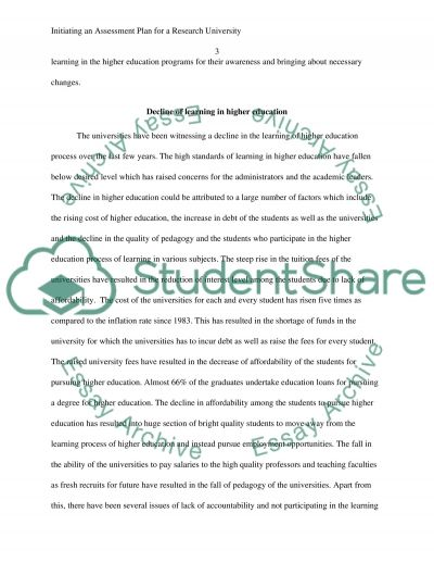 Initiating an Assessment Plan for a Research University essay example