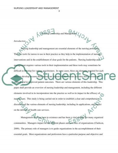Nursing Leadership and Management essay example