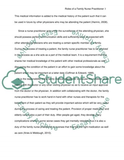 THE ROLE OF THE NURSE PRACTITIONER essay example
