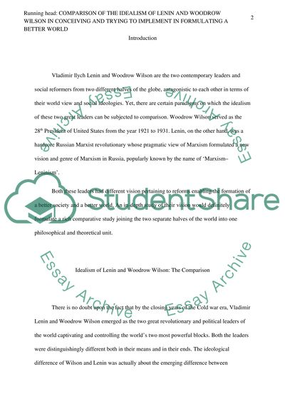 Science And Religion Essay Compare And Contrast The Idealism Of Lenin And Woodrow Wilson In Terms Of  How They Conceived Analysis Essay Thesis also Should The Government Provide Health Care Essay Compare And Contrast The Idealism Of Lenin And Woodrow Wilson In  Literature Review Of Service Quality