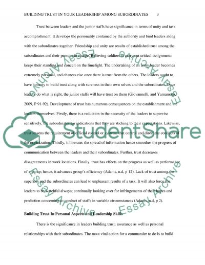 Building Trust in your Leadership Among your Subordinates essay example