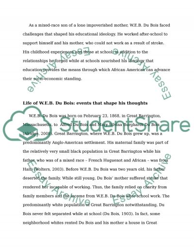 W.E.B. DuBois life and role in the history of education essay example