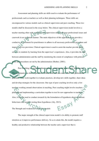 Assessing and Planning Skills essay example