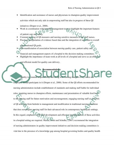 Service improvement essay nursing