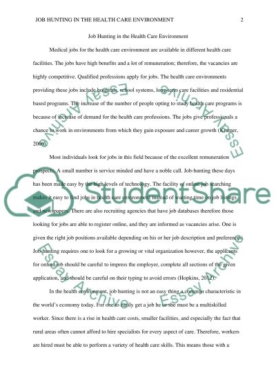 Job Hunting in the Health Care Environment Essay example