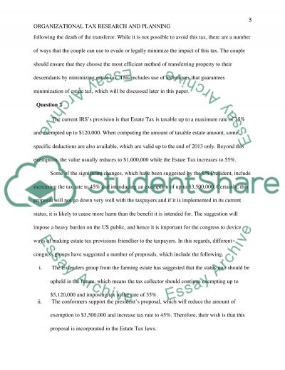 Organizational Tax Research and Planning - Estate Tax essay example