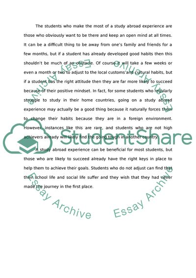 Reflection journal about study abroad