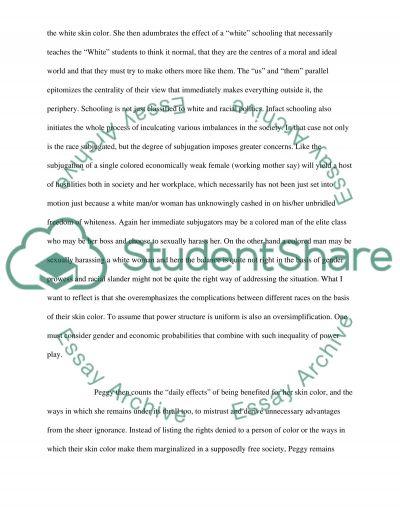 Peggy McIntoshs White Privilege essay example