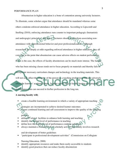 Performance Plan Essay example