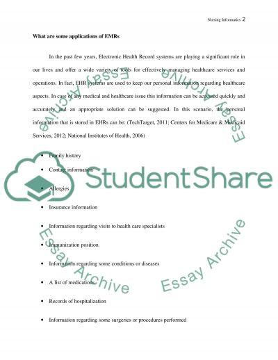 Nursing informatics essay example