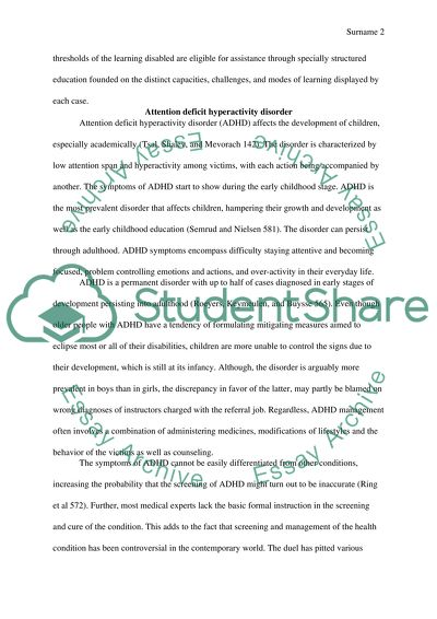 Adhd And Its Effects On Childrens Development Research Paper
