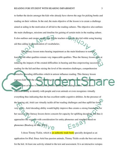 Reading For Student with Hearing Impairment