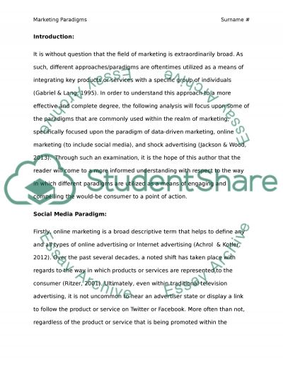 Marketing can be viewed through a variety of different perspectives which are called paradigms. Discuss the differences of the most common paradigms in the field of marketing and present some relevant examples from contemporary marketing practice. Evaluat essay example