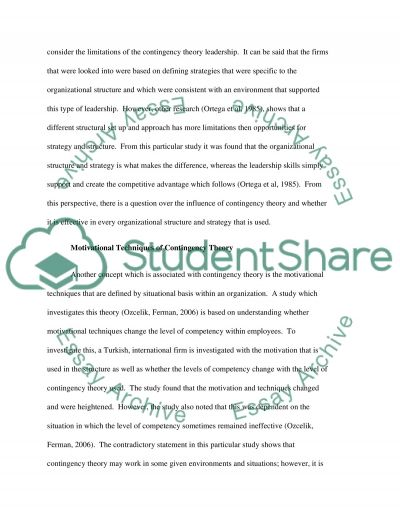 Limitations of Contingency Leadership Theories essay example