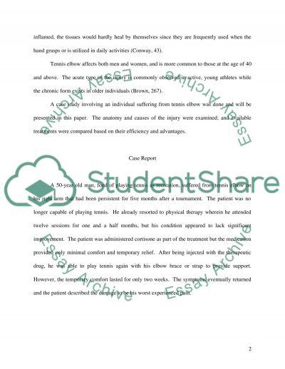 Tennis Elbow essay example