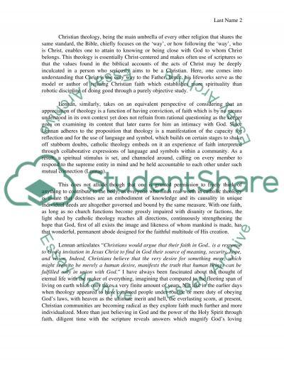 Themes of Crhistian Faith essay example