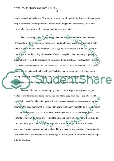 Mental Health Stigma And Discrimination Essay