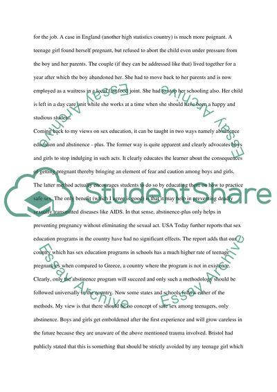 Sex Education Speech/Presentation