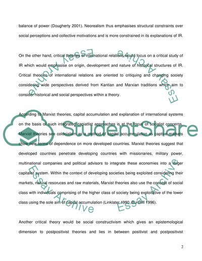 Essay Writing On Newspaper Critical Theory Of International Relations And Neorealism Essay On Modern Science also English Essays For High School Students Critical Theory Of International Relations And Neorealism Essay Example Essay Papers
