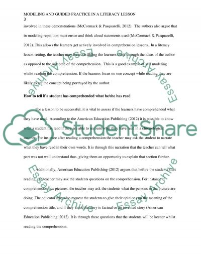 Modeling and guided practice in a literacy lesson essay example