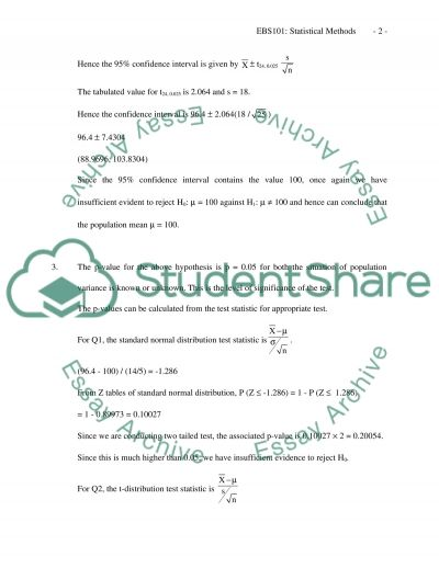 Statistical Methods essay example
