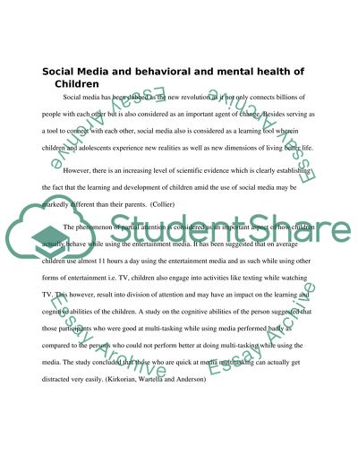 Long Term Effects of Social Media And Its Impact On Childrens Behavioral And Mental Health
