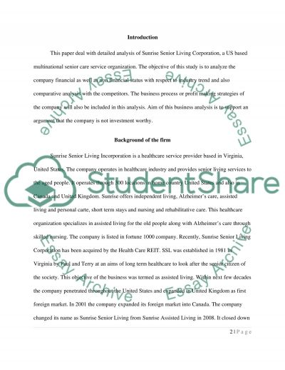 SUNRISE SENIOR LIVING (SRZ)....FIRM THATS NOT WORTHY INVESTMENT essay example