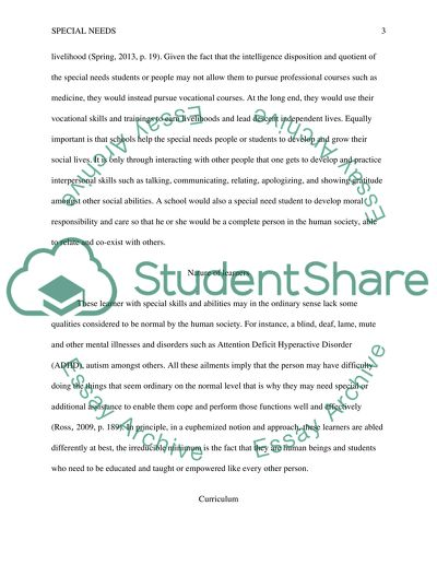 On Special Education How To Use Paper >> Philosophy Of Special Education Research Paper Example Topics And