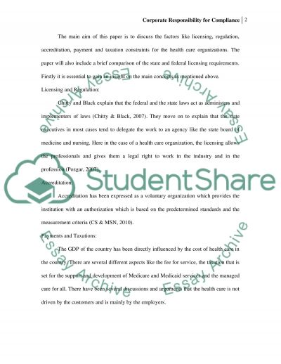 U02d1 Corporate Responsibility for Compliance essay example