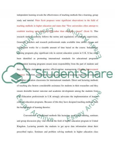 Methods of Teaching and Assessment in Higher Education in the U.K essay example