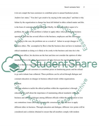 Solving Ethical Problem essay example