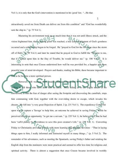 Robinson Crusoe essay example