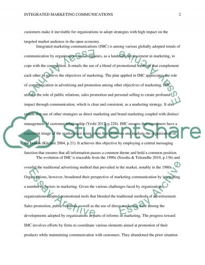 integrated marketing communications essay example topics and  integrated marketing communications essay example