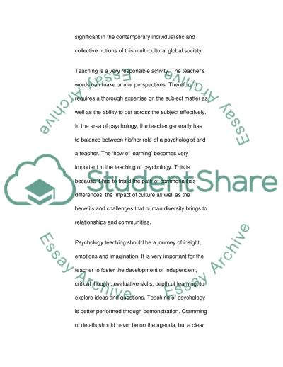 Teaching of Psychology essay example