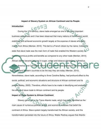 impact of slavery system on african continent and its people essay impact of slavery system on african continent and its people essay example