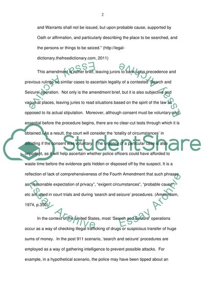 Search and Seizure Essay Example | Topics and Well Written Essays