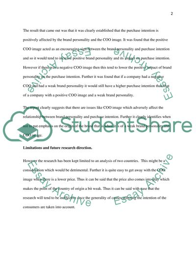 Purchase intention essay