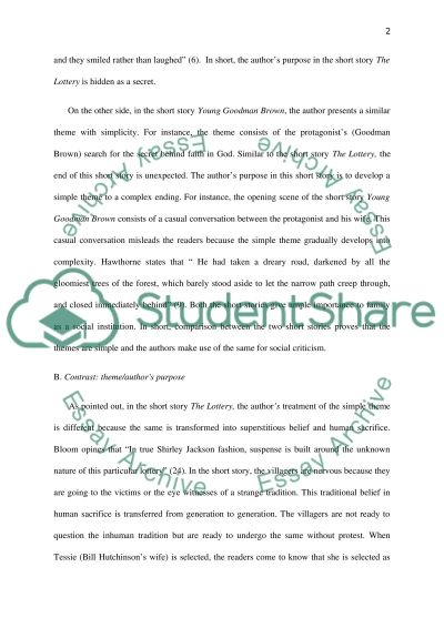 argumentative essays on goodman brown short story Goodman brown essay - free download as word doc brown's character traits are obvious throughout the short story from the start, goodman brown shows.