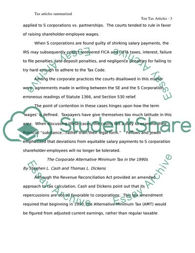 Tax Accounting Article Research and Synopsis Writing