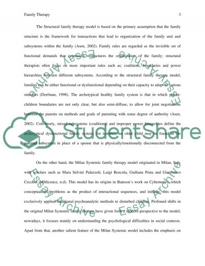 family therapy 2 essay Free essay on narrative therapy available totally free at echeatcom, the largest free essay community.