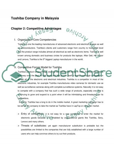Toshiba Company in Malaysia Coursework example