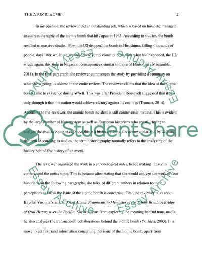 Critiquing Historical Analysis of Classmate - Subject- Atomic Bomb