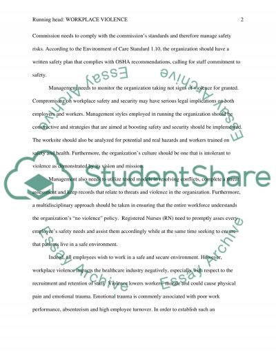 Workplace Violence from an organizational perspective essay example