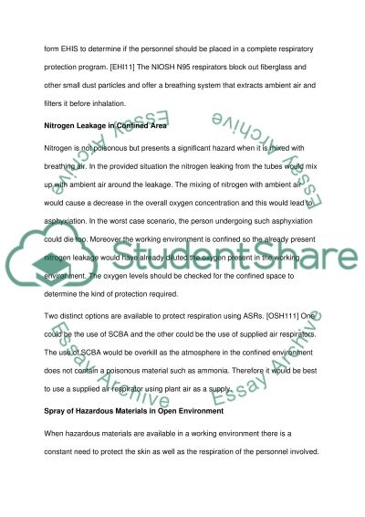 Respiratory Protection Essay example