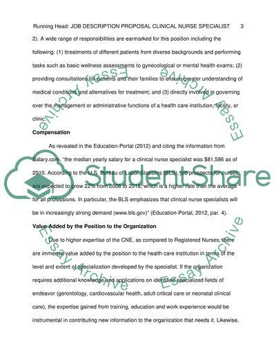 Proposal for a job description for clinical nurse specialist/educator