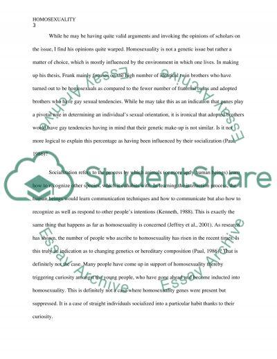 Homosexuality essay example