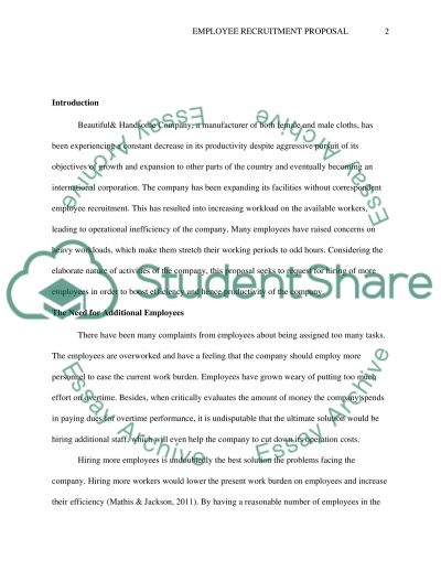 Employee Recruitment Proposal essay example