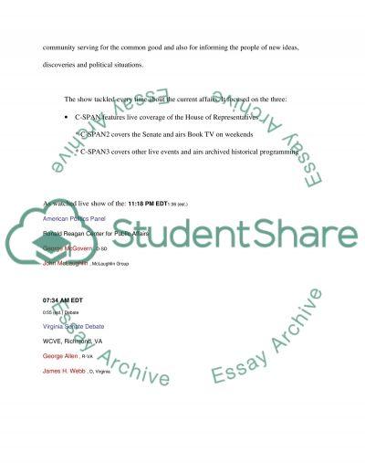 CSpan analysis paper essay example